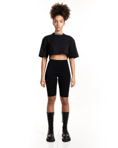 Black Glitter Fire Crop Tee