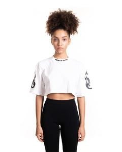 White Glitter Fire Crop Tee