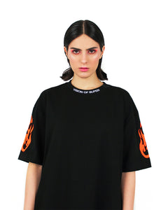 Orange Fluo Flame logo Black T-shirt