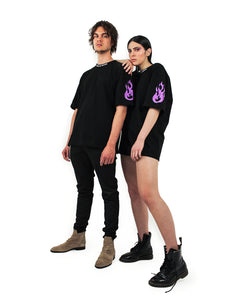 Purple Flame logo Black T-shirt