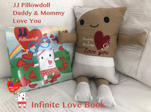 "(AA) JJ Pillowdoll 18"" Daddy & Mommy Love You with Infinite Love Book"