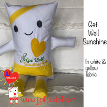 "Load image into Gallery viewer, (A) Personalized, Embroidered JJ Pillowdoll ""GET WELL SUNSHINE"" Provide name in the notes section."