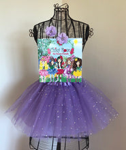 "Load image into Gallery viewer, Chiky Rose Book vol. 3 ""Flower Friends"" with Lilac Tutu Skirt and two matching Flower Hair Clips"
