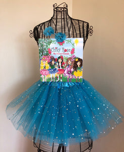 "Chiky Rose Book Vol. 3 ""Flower Friends"" with Blue Tutu Skirt and  2 Flower Hair Clips"