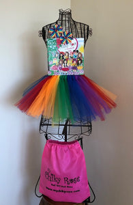 "Chiky Rose  Book Vol. 4 ""12 Months of Love""  with Rainbow Tutu Skirt and Rainbow Hair Clips"