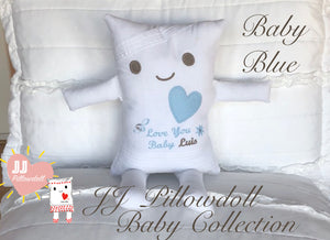 (A) JJ Pillowdoll Baby Collection (Personalized Embroidery in Blue) Provide the name in the notes section.
