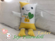 "Load image into Gallery viewer, (A) JJ Pillowdoll, Two in One, ""Easter Yellow & White"""