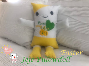 "(A) JJ Pillowdoll, Two in One, ""Easter Yellow & White"""