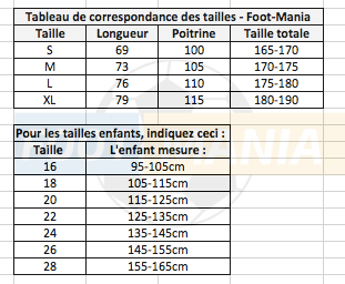 guide taille maillots de foot