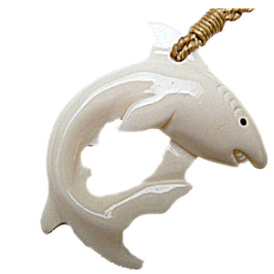 HAWAIIAN SHARK MANO BONE FISH HOOK SURFER NECKLACE PENDANT