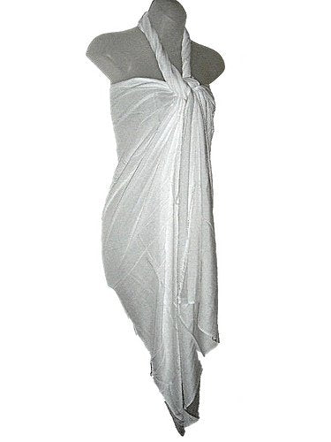 HAWAIIAN SOLID WHITE BIKINI SWIMSUIT BEACH COVER UP LONG SARONG XS-XL