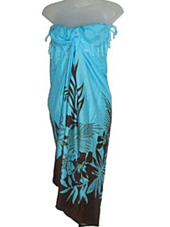 HAWAIIAN TROPICAL FLORAL BLUE & BROWN LONG SARONG SWIM SUIT BIKINI COVER UP WRAP