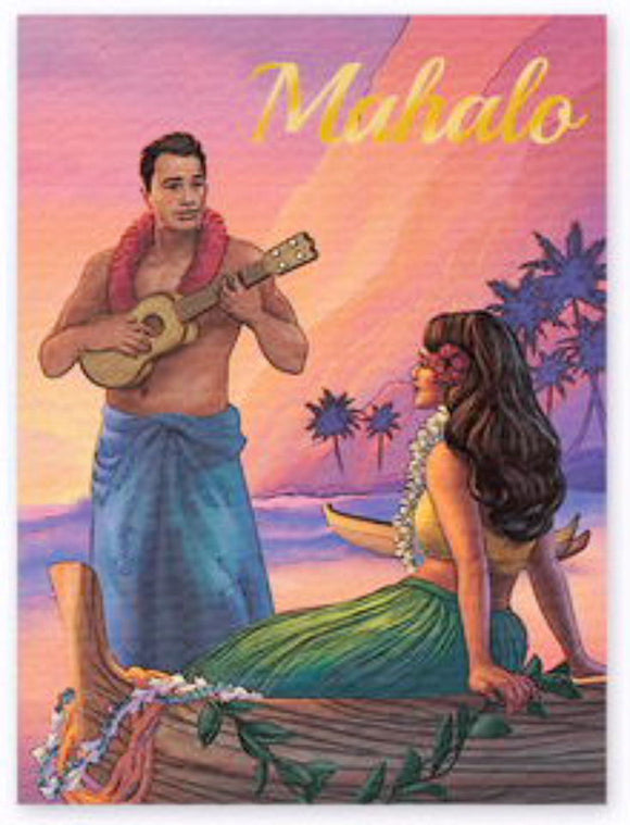 Sunset Serenade Mahalo Hawaiian Thank You Cards 8-Pack