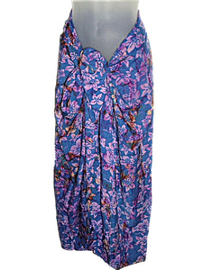HAWAIIAN FLORAL PURPLE BATIK PRINT PLUS SIZE SARONG PAREO COVER UP (1X-2X) w/ Sarong Buckle