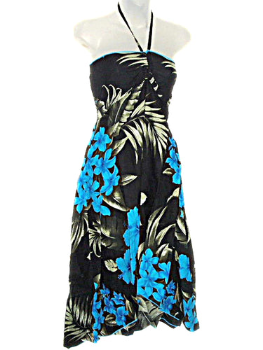 Hawaiian Floral Black with Blue Plumeria Butterfly Hi Low Dress