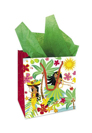 2-Hula Dancers Everyday Gift Bags X-Large 12x10