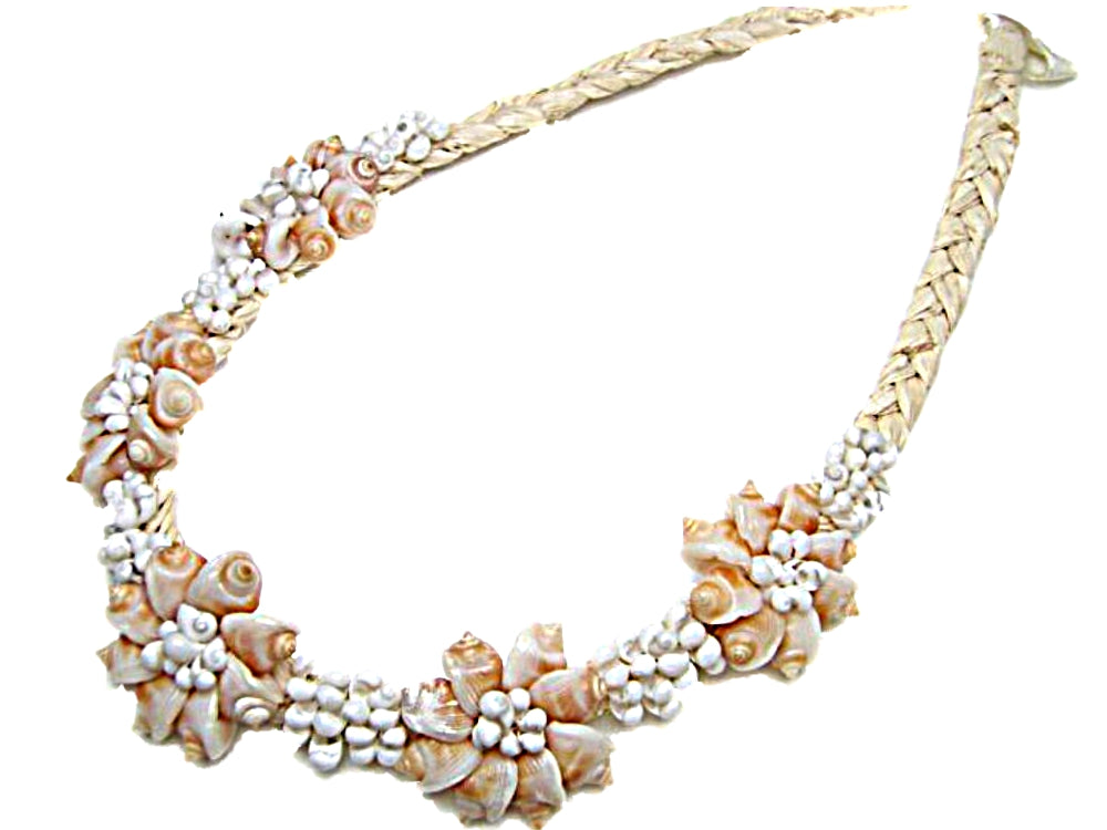 HAWAIIAN CONE SEA SHELLS W/WHITE MONGO SHELLS RAFFIA NECKLACE/CHOKER