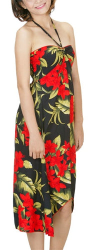Hawaiian Floral Black with Red Plumeria Butterfly Hi Low Dress