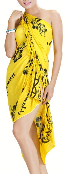 HAWAIIAN ALOHA HAWAII YELLOW PAREO SARONG