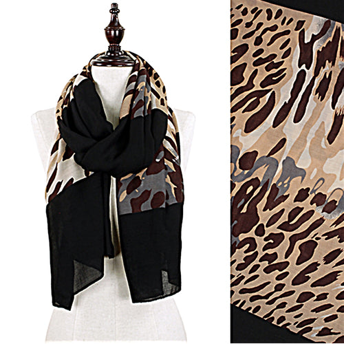 Tri Color Animal Print Oversized Scarf 35 x 70