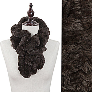 "Faux Fur Dark Brown Twist Ruffle Look Scarf Muffler 36"" x 5"""