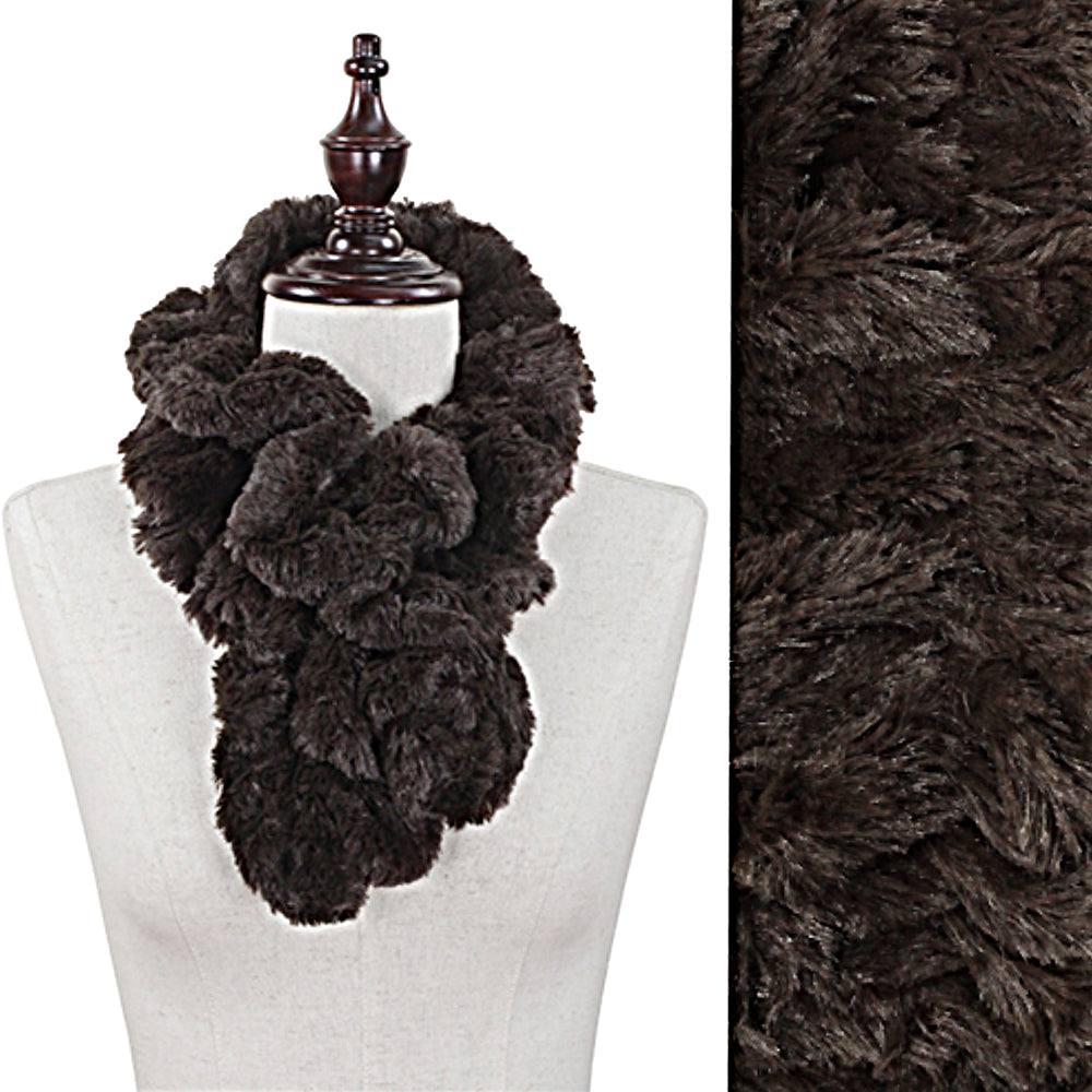 Faux Fur Dark Brown Twist Ruffle Look Scarf Muffler 36
