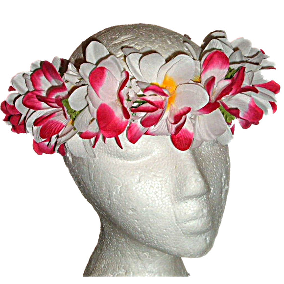 HAWAIIAN PLUMERIA PINK & WHITE FLOWERS SILK HAKU HEAD LEI