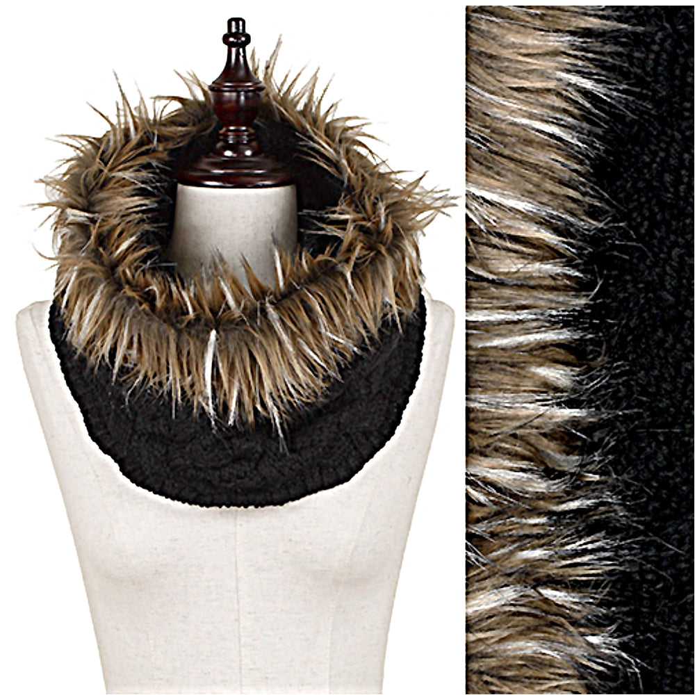 Woven Cable Knit Tube Infinity Loop Cowl Neck Scarf w/Faux Fur Trim Wrap