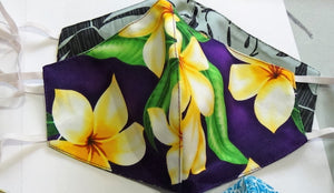 1-Hawaiian Fabric Face Mask Washable Reversible 2 Sided -Purple Plumeria-Teens /Small Adults