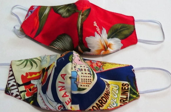 Children's Kids Hawaiian 3 Layer Face Mask 2 Sided Hawaii Pics / Hibiscus Floral