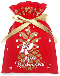 Hawaiian Mele Kalikimaka Fabric Large Gift Bags 3 Pack Pineapple Treasure