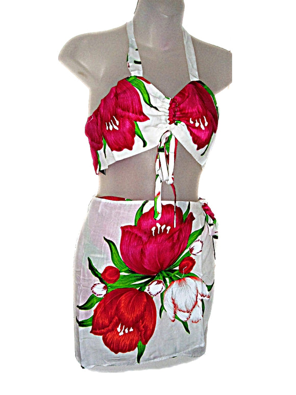 HAWAIIAN FLOWERS PINK & RED TULIPS GIRLS/PRE TEENS TOP & SARONG BEACH OUTFIT SET