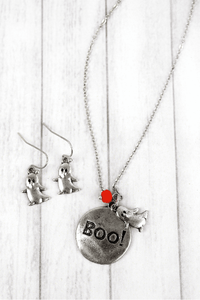 'BOO!' HALLOWEEN NECKLACE AND EARRING BURNISHED SILVERTONE