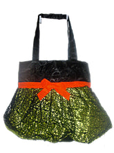 Load image into Gallery viewer, Halloween Satin Trick or Treat Bags or Purse with Ruffled Skirt and Black Web Overlay