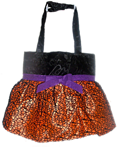Halloween Satin Trick or Treat Bags or Purse with Ruffled Skirt and Black Web Overlay