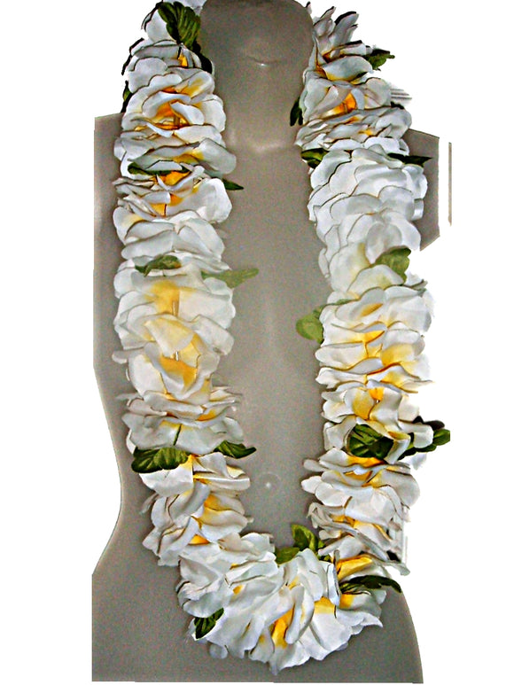 Hawaiian Deluxe Fluffy Soft White Lei Hula, Graduation, Luau & Wedding