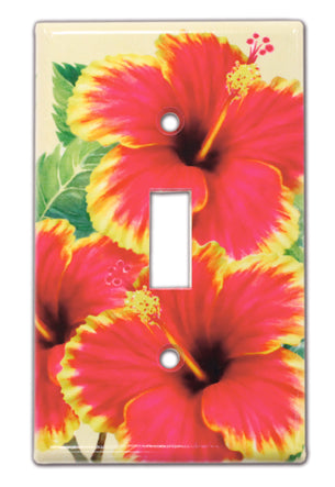 Hawaiian Switchplate Cover Red & Yellow Hibiscus