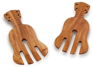 "Hawaiian Acacia Wood Monkey Pod Salad or Pasta Servers Ukulele 7"" x 3"" x .25"""