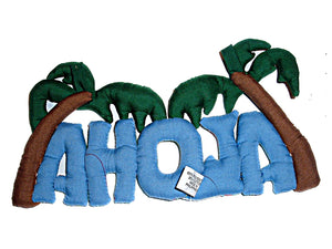 HAWAIIAN QUILTED FABRIC ALOHA HAWAII HULA WALL DECOR SIGN GIFT 10X6