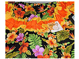 Hawaiian Tropical Flowers Black Floral Full Bib Apron Luau House Warming Gift