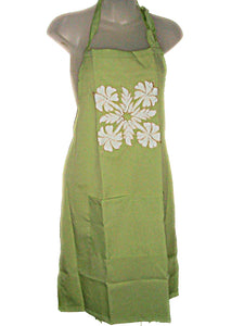 HAWAIIAN HIBISCUS FLOWERS GREEN QUILT APPLIQUE FULL BIB APRON W/POCKETS (S-1X)