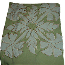 Load image into Gallery viewer, HAWAIIAN HIBISCUS FLOWERS GREEN QUILT APPLIQUE FULL BIB APRON W/POCKETS (S-1X)