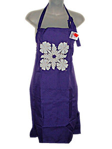 HAWAIIAN HIBISCUS FLOWERS PURPLE QUILTED QUILT APPLIQUE FULL APRON