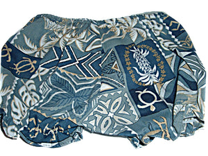 Hawaiian Tropical Honu Turtle Palm Trees Tapa Print Baby 2 pc Blue Outfit Infant Girls (See Sizes)