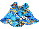 Hawaiian Tropical Beach Print Baby 2 pc Blue Outfit Infant -Made in Hawaii (6 Months)