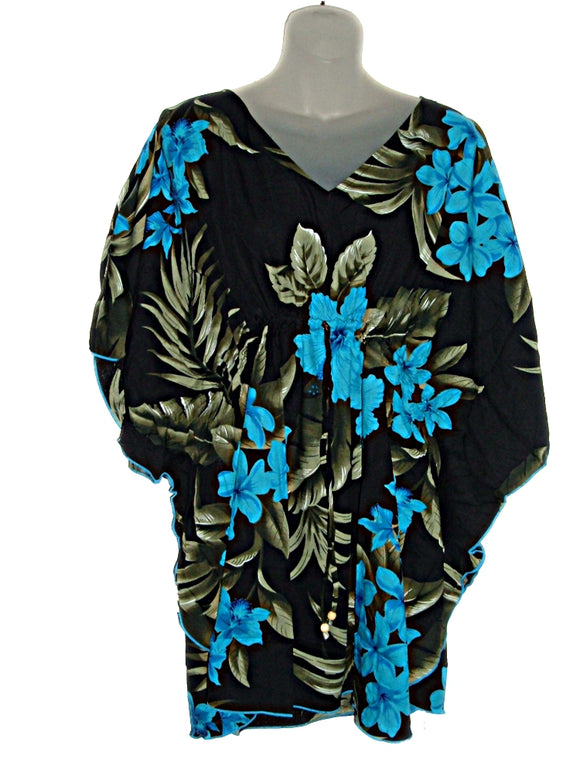 Hawaiian Blue Turquoise Floral Kaftan Tunic Cover up Beach Dress Swimwear (M-1X)
