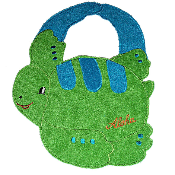 Hawaiian Turtle Baby BIB with Quilted Applique (Green Honu)