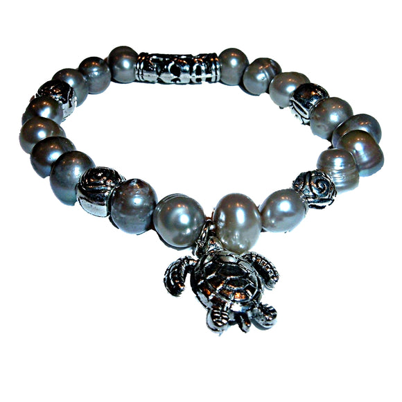 Hawaiian Honu Turtle Pendant Charm Gray Fresh Water Pearls w/ Detailed Metal Beads Stretch Bracelet