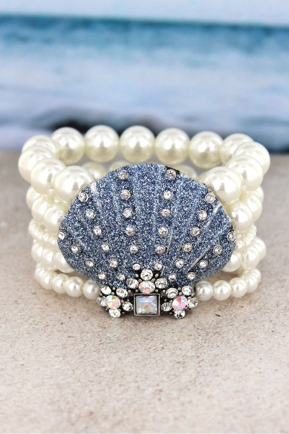 Bejeweled Blue Glitter Seashell Pearl Stretch Bracelet