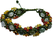 Load image into Gallery viewer, Green Jade Beads Cord Adjustable Hand Knotted Bracelet or Anklet